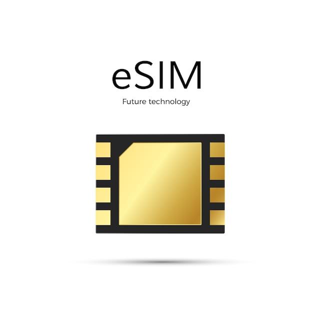 Технология esim. значок sim-карты. Premium векторы