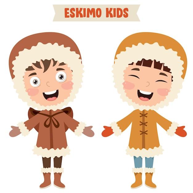 Eskimo children wearing traditional clothes Premium Vector