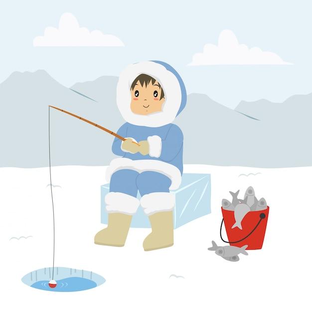Eskimo man fishing through the ice hole Premium Vector