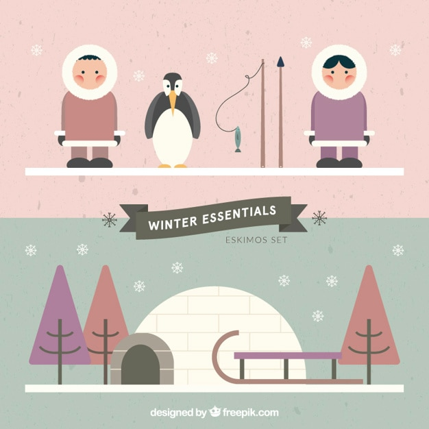 Eskimos in flat design Free Vector