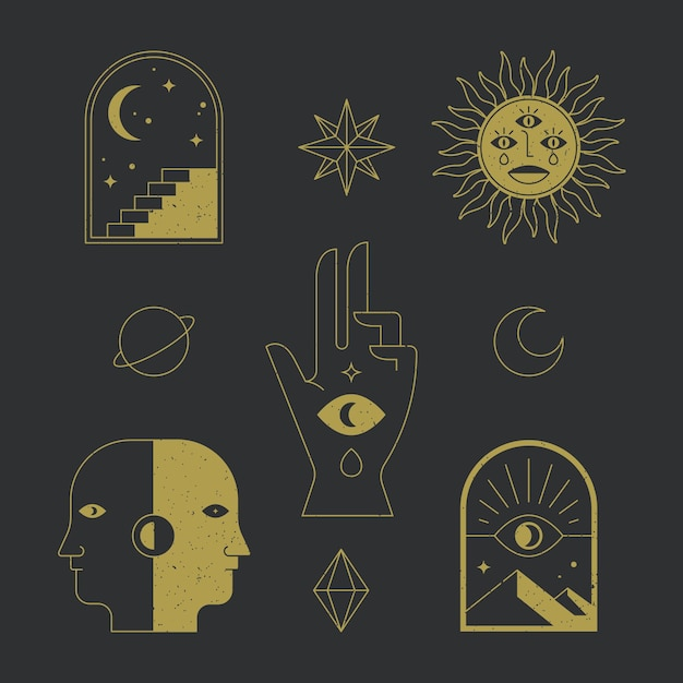 Esoteric element pack concept Free Vector