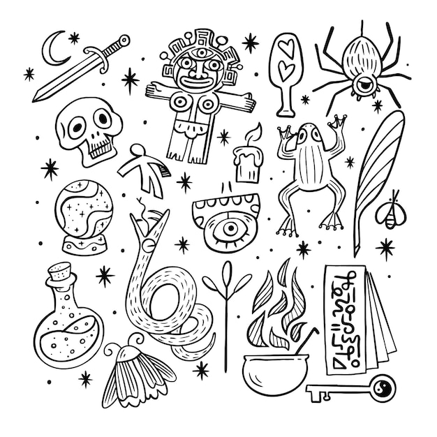 Esoteric elements black and white sketches Free Vector