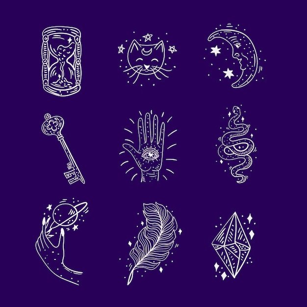 Esoteric elements collection Free Vector