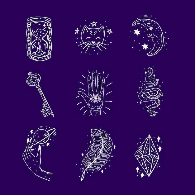 Raccolta di elementi esoterici Vettore gratuito