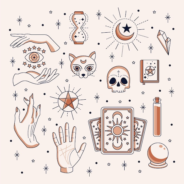 Esoteric elements collection Premium Vector