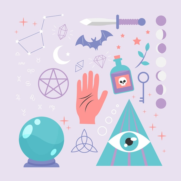 Esoteric elements concept with hand Free Vector