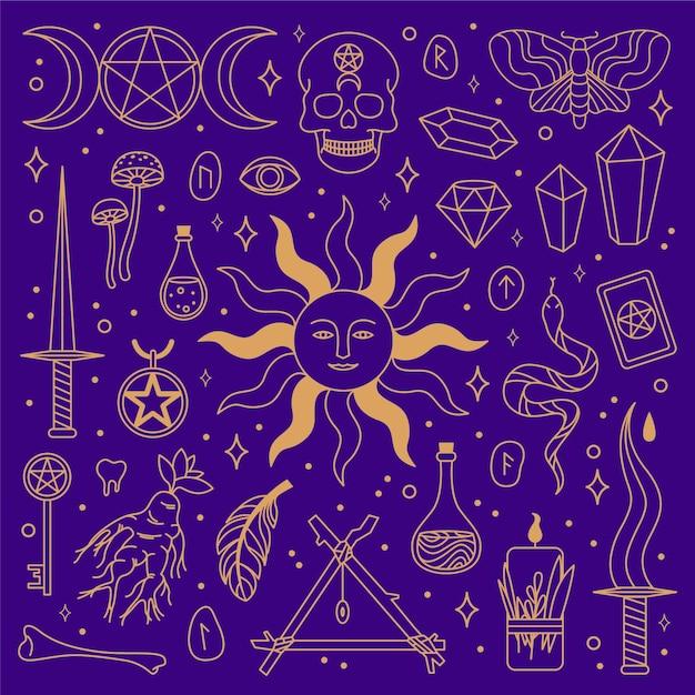 Concetto di elementi esoterici Vettore gratuito