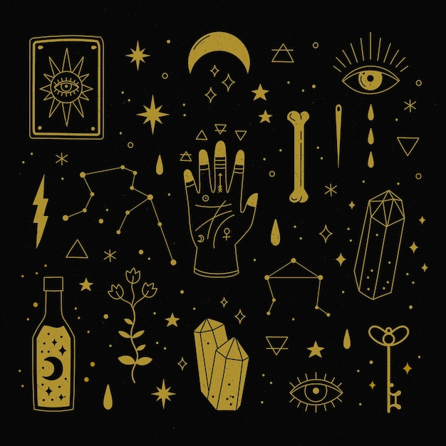 Esoteric elements concept Free Vector
