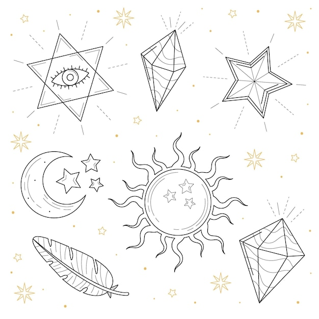 Esoteric elements hand drawn style Free Vector
