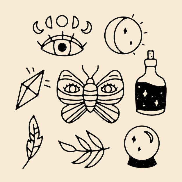 Esoteric elements illustration concept Free Vector