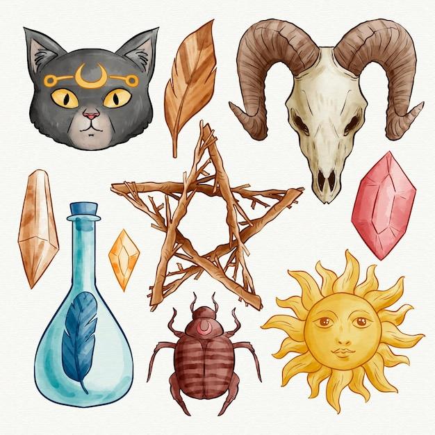 Concetto esoterico dell'illustrazione degli elementi Vettore gratuito