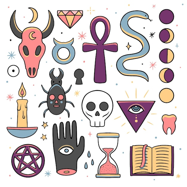 Esoteric elements mystical creatures Free Vector