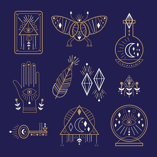 Esoteric elements theme Free Vector