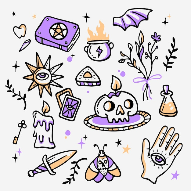 Esoteric items hand drawn style Free Vector