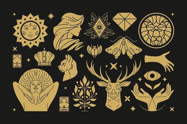 Эзотерическая магия и элементы дизайна ведьм с жестами женских рук Premium векторы