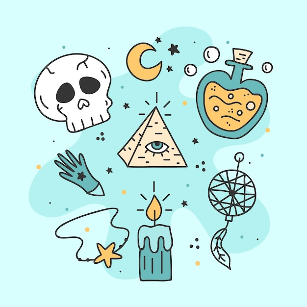 Esoteric mystical elements concept Free Vector