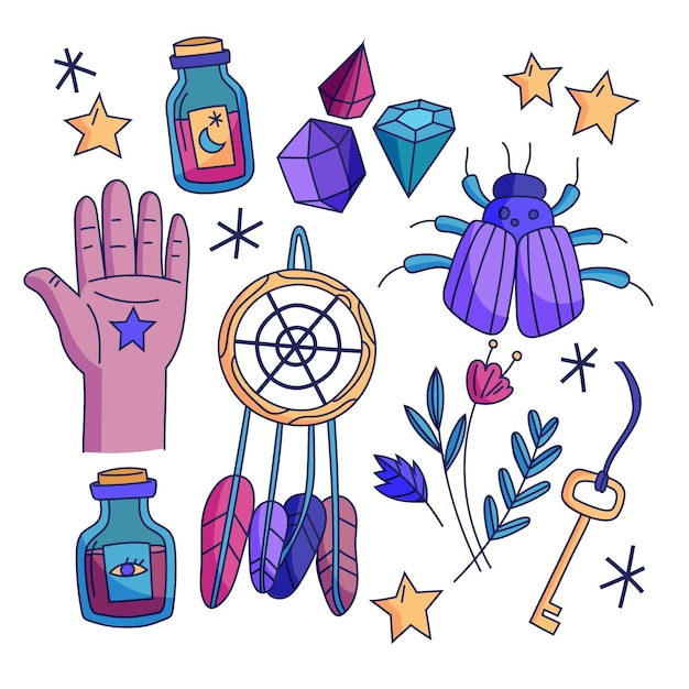 Esoteric mystical elements concept Free Vector
