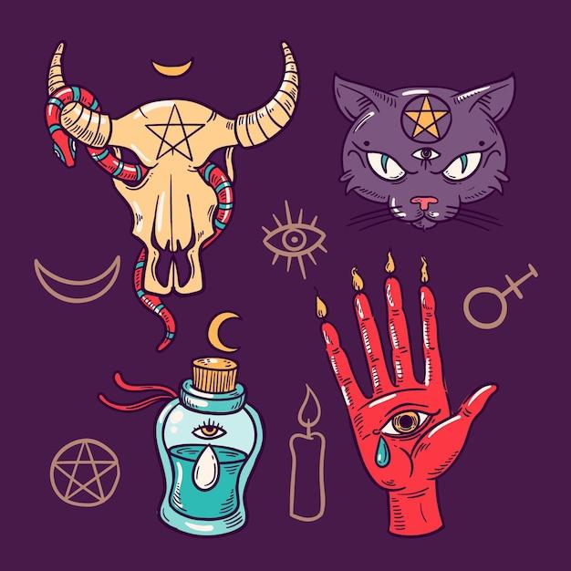 Concetto di elementi mistici esoterici Vettore gratuito