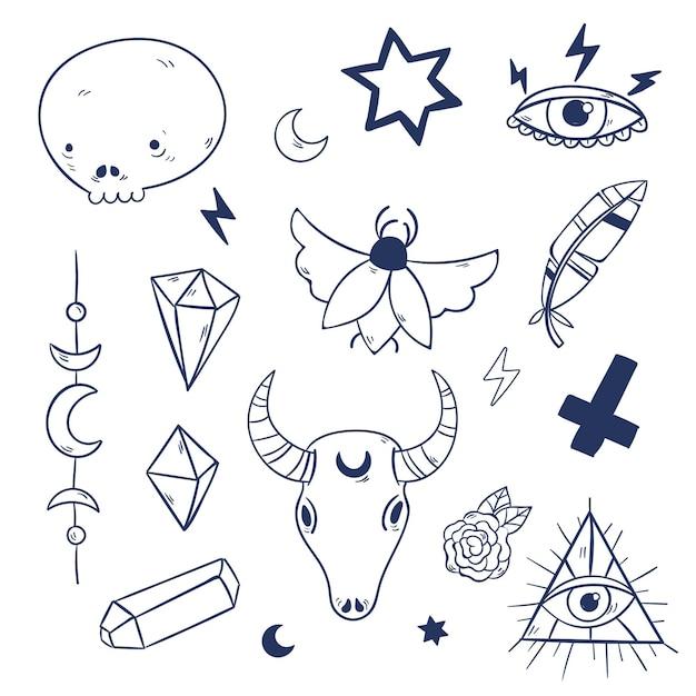 Esoteric mystical elements Free Vector