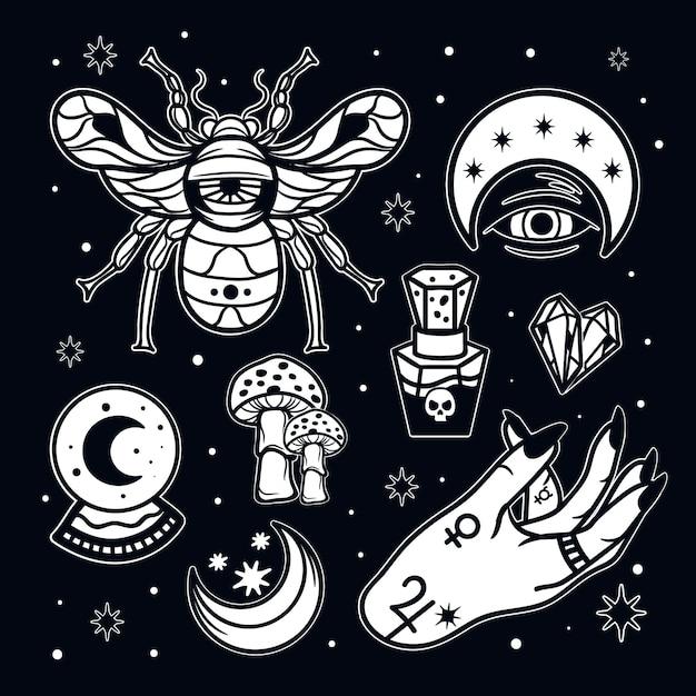 Elementi mistici esoterici Vettore gratuito