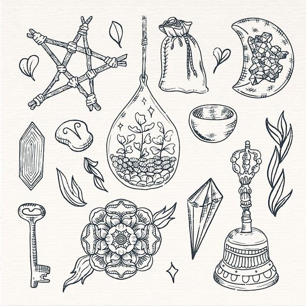 Elementi esoterici di schizzo seppia vintage Vettore gratuito