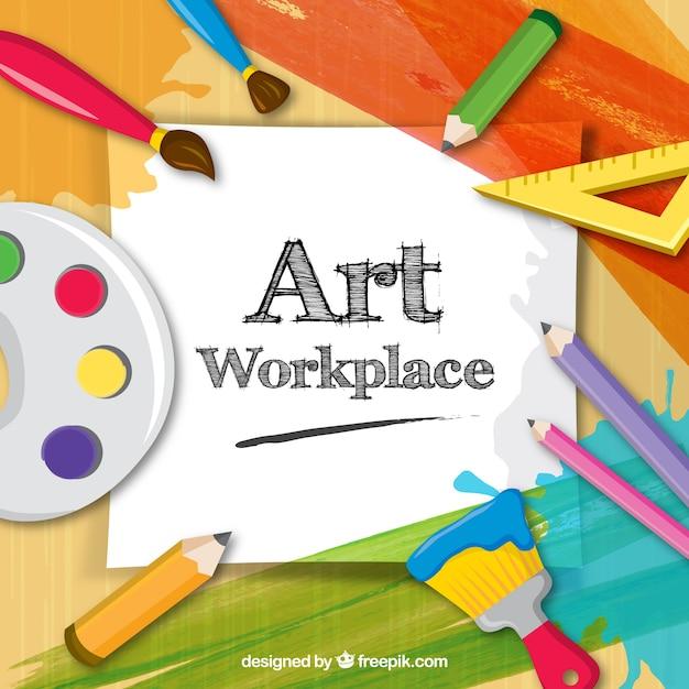 Espacio de trabajo del artista, a todo color Free Vector