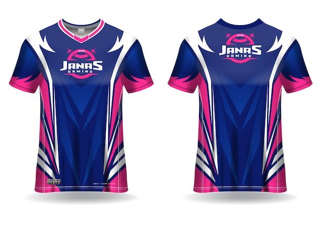 Шаблон игровой футболки esport, форма, вид спереди и сзади Premium векторы