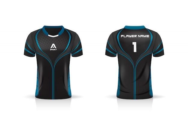 Спецификация футбол спорт, esport gaming t футболка джерси шаблон. Premium векторы