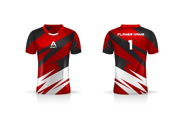 Спецификация футбол спорт, esport gaming t футболка джерси шаблон. униформа. Premium векторы