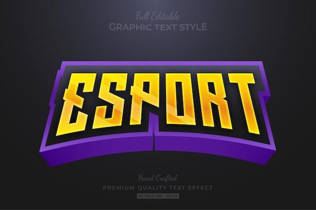 Esport 게임 팀 스트립 편집 가능한 텍스트 효과 글꼴 스타일 프리미엄 벡터