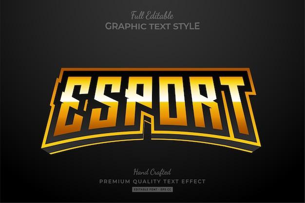 Esport gold editable text style effect Premium Vector