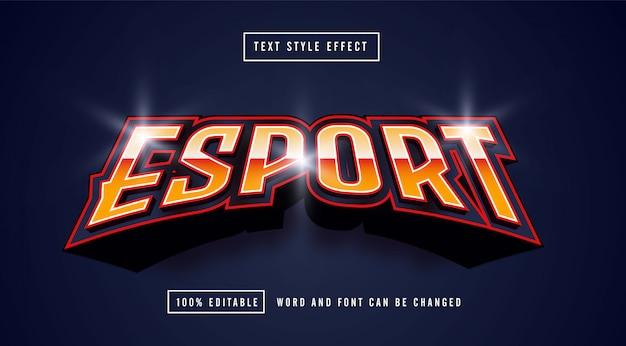 Esport line red editable text effect premium vector Premium Vector