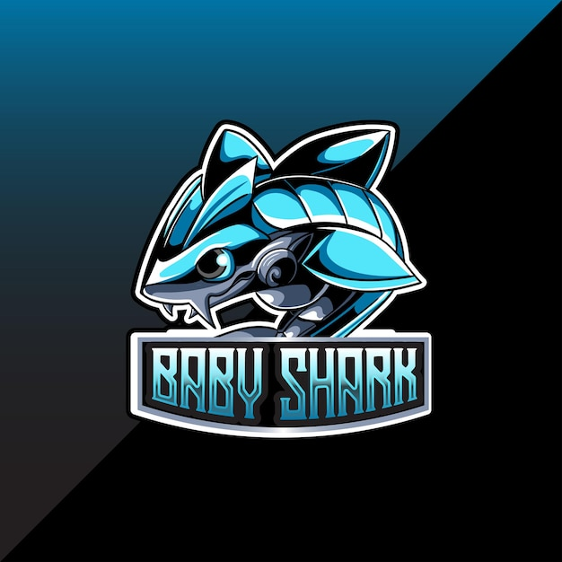 Esport logo whit baby shark character Premium Vector
