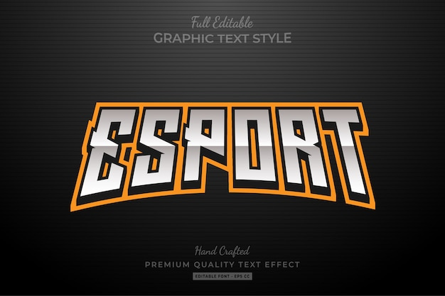 Esport orange editable text style effect Premium Vector