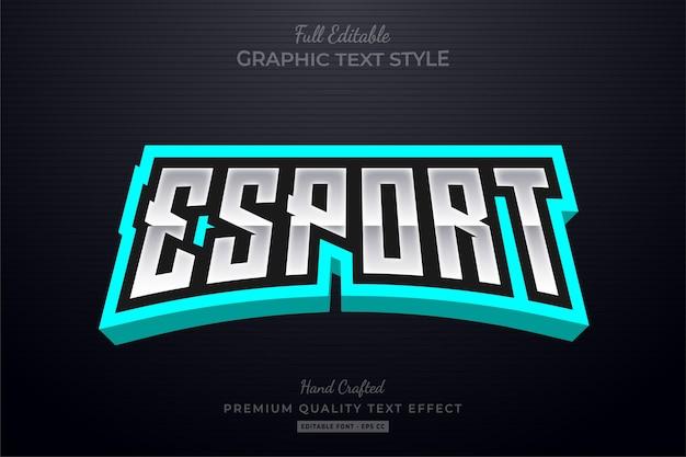 Esport turquoise editable text style effect Premium Vector