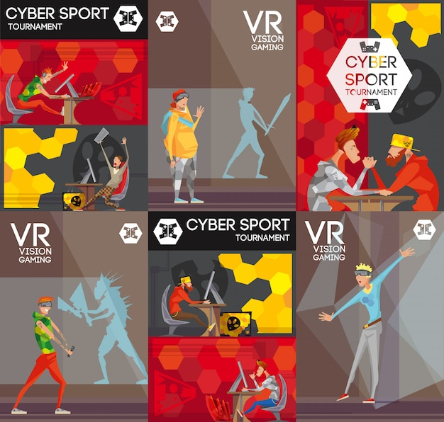 Esport vr competitive video games 6 flat colorful banners Free Vector