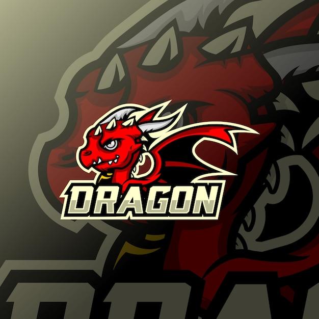 ドラゴンマスコットesportロゴ Premiumベクター