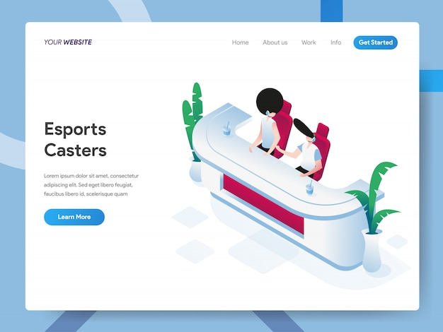 Esports casters isometric illustration for website page Premium Vector