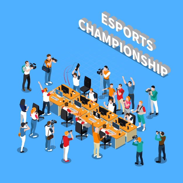 Esports championship isometric composition Free Vector