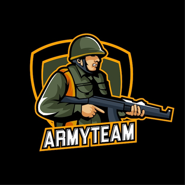 Esports gaming army logo team military Vector | Premium Download