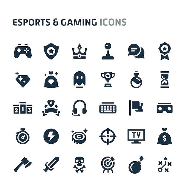 Esports&ゲームアイコンセット。 fillioブラックアイコンシリーズ。 Premiumベクター