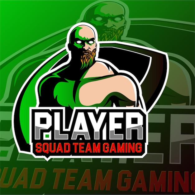 Esports gaming logo bald skull theme Vector | Premium Download
