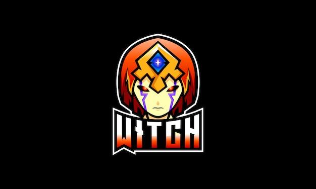 Темная ведьма esports logo Premium векторы