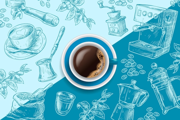 Espresso coffee cup on blue hand drawn background Free Vector