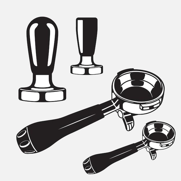 Espresso filter handle and tamper Premium Vector