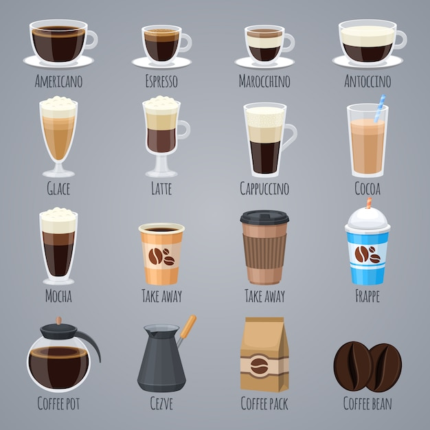 Espresso, latte, cappuccino in glasses and mugs. coffee types for coffee house menu. Premium Vector