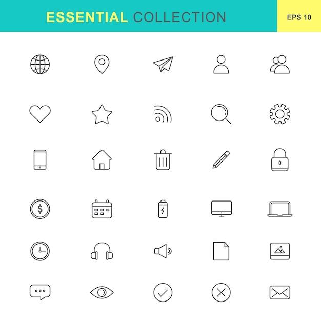 Essential icons set Premium Vector