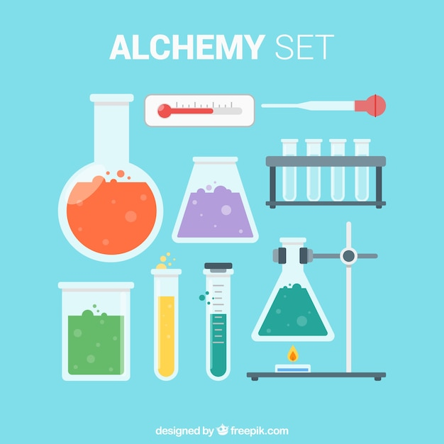 Essential laboratory objects Free Vector