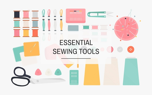Essential sewing tools icon illustration Free Vector