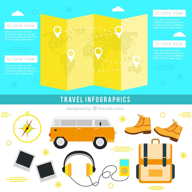 Essential travel accessories for infography Premium Vector